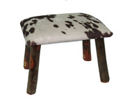 Rustic Hickory Small Stool Ottoman with Cow Hide Fabric