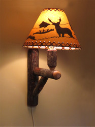 Rustic Hickory Wall Sconce Lamp (Shade sold Separately)