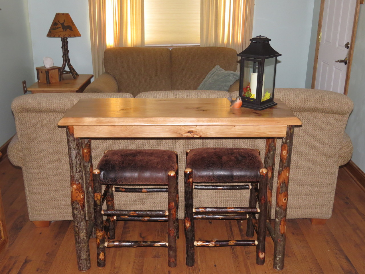 Amish Hickory Sofa Table Breakfast Bar With 2 Upholstered Hickory