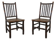 Rustic Hickory Dining Chairs with Barnwood Seat - Spindle Back (Set of 2)