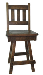 "Amish Barnwood Swivel Bar Stool 24"" or 30""- Slat Back"