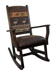 Amish Barnwood Rocker with Upholstered Seat & Back
