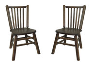 Barnwood Distressed Oak Dining Kitchen Chairs with Spindle Back (Set of 2)