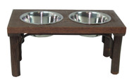 Barnwood & Hickory Dog Feeder with Stainless Steel Bowls