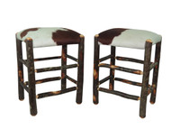 "Set of 2 Real Cowhide Rustic Hickory Backless Bar Stools 24"" - Hair on Hide"