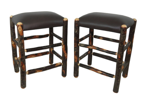 Set Of 2 Genuine Leather Rustic Hickory Backless Bar Stool