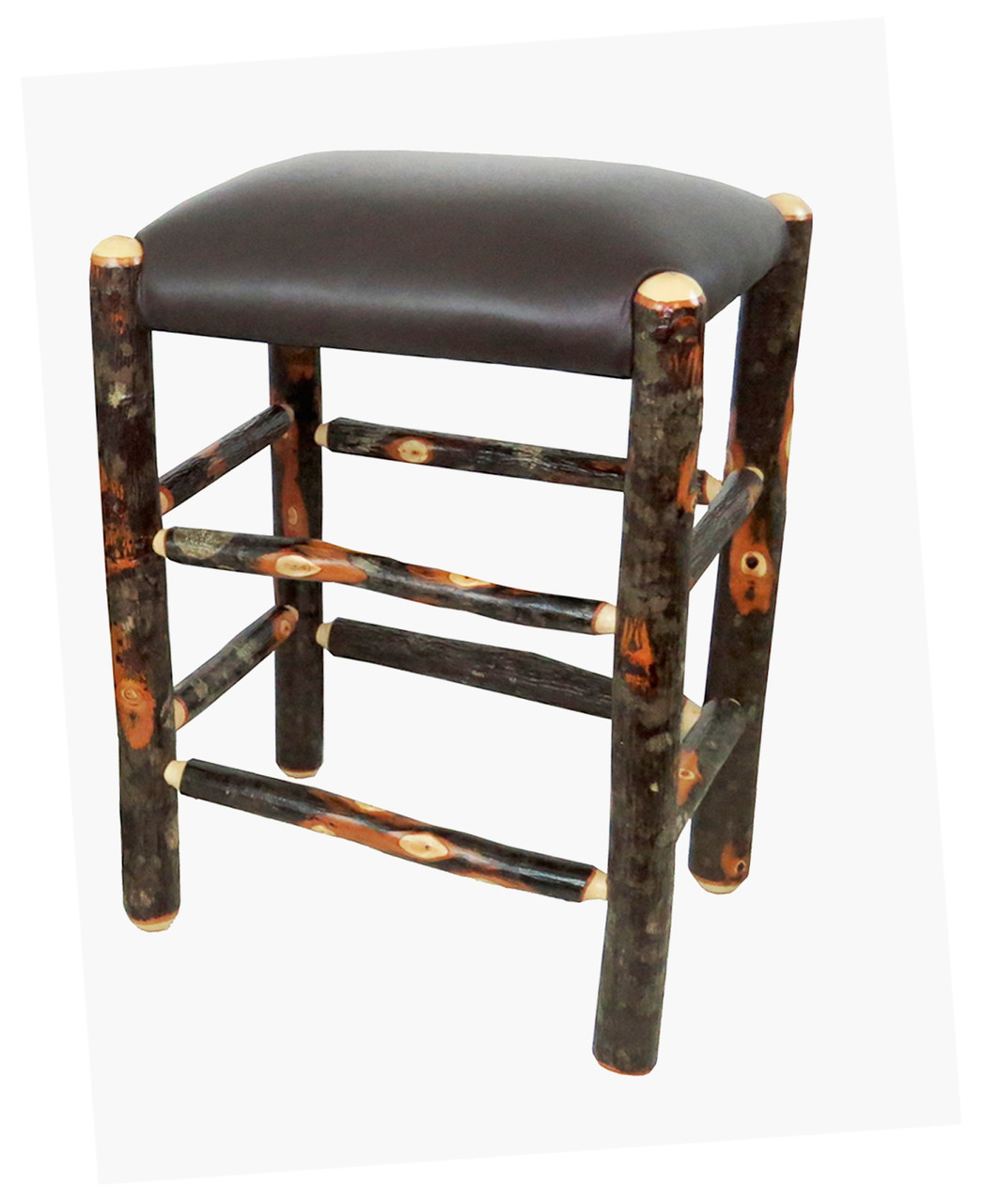 Genuine Leather Rustic Hickory Backless Bar Stool 24