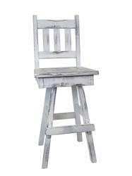 "Amish Farmhouse White Distressed Swivel Bar Stool 24"" or 30"" - Slat Back"