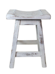 "Swivel Farmhouse White Distressed Barnwood Bar Stools 24"" or 30""- Saddle Seat"