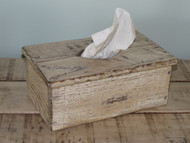 Farmhouse White Distressed Barnwood Long Tissue Box Cover