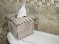 Farmhouse White Distressed Barn wood Tissue Box Cover