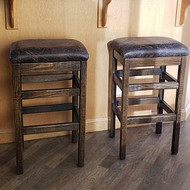 "Barnwood Bar Stool 24"" or 30"" Upholstered Seat - Changeable Top"