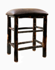 "Rustic Hickory Bar Stools 24"" Upholstered Seat - Changeable Top"