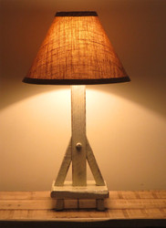 Farmhouse White Distressed Barnwood Table Lamp (Shade sold separately)
