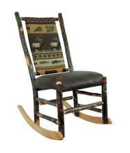Rustic Hickory Amish Rocker upholstered Seat & Back no Arms