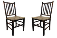 Hickory Dining Chairs with Hickory Seat- Spindle Back (Set of 2)