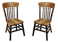 Rustic Hickory & Oak Dining Chair with Panel Back - set of 2