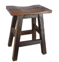 "24"" Barnwood Bar Stool Saddle Seat"