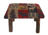 Rustic Hickory Small Stool Ottoman with Red Cabin Fabric