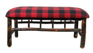Plaid Upholstered Hickory Jumbo Bench with Spindles