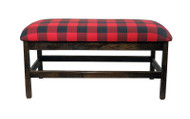 Barnwood Upholstered Jumbo Bench with Spindles and Buffalo Plaid