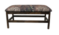 Barnwood Upholstered Bench with Spindles Real Tree Canvas Fabric