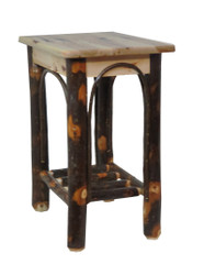 Free Shipping - Rustic Solid Hickory End Table Night Stand with Hickory Curls
