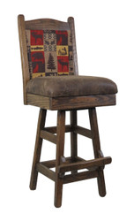 "30"" Barnwood Swivel Bar Stool  with Upholstered Seat & Back Multiple Fabrics"