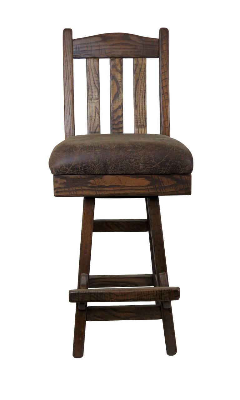 Picture of: Amish Barnwood Swivel Bar Stool Slat Back With Upholstered Seat