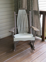 Amish Outdoor  Hickory Bentwood Rocker made from Rustic Poly Wood