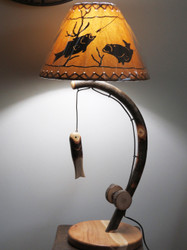 Free Shipping - Fishing Pole Table Lamp made from Bent Hickory with Fish Shade