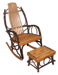 Amish Hickory & Oak Rocking Chair with Foot Stool FREE SHIPPING