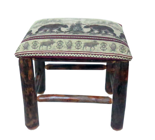 Rustic Hickory Ottoman With Distressed Faux Leather Fabric