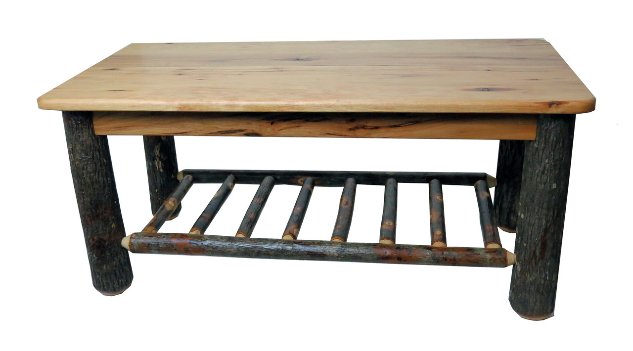 - Rustic Solid Hickory Coffee Table