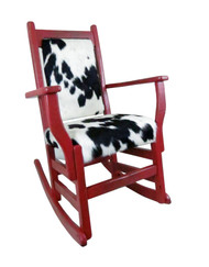 Unique Red Distressed Barn Wood Rocker with Hair on Hide Leather Upholstered Seat & Back