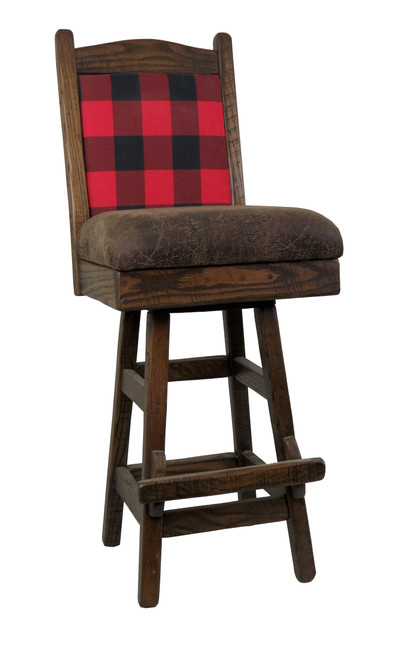 Plaid Upholstered Barnwood Swivel Bar Stool 24 Or 30 Inch