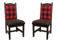 Plaid Upholstered Barnwood Dining Chairs  Set of 2
