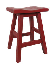 "24"" Barn Red Distressed Barnwood Bar Stool Saddle Seat"