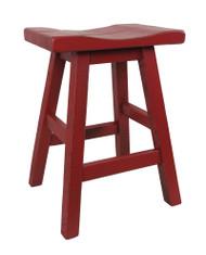 "Barn Red Distressed Barnwood Bar Stool Saddle Seat in 24"""