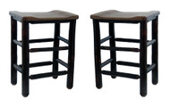 Set of 2 SOLID Rustic Hickory Bar Stools 24""