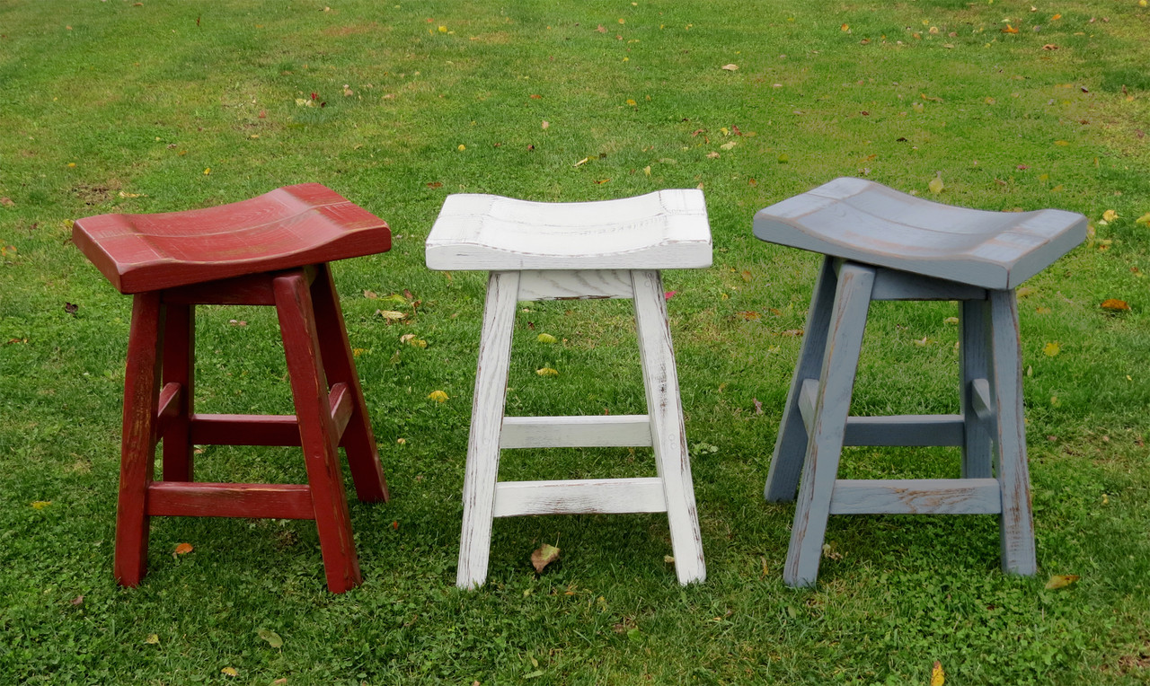 Swell Swivel Red White Or Blue Distressed Barnwood Saddle Seat Bar Stools 24 Or 30 Andrewgaddart Wooden Chair Designs For Living Room Andrewgaddartcom