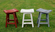 "Swivel Red White or Blue Distressed Barnwood Saddle Seat Bar Stools 24"" or 30"""