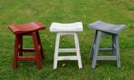 "Swivel Red White or Blue Distressed Barnwood Saddle Seat Bar Stools 24"" or 30"""