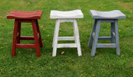 "Red White or Blue Distressed Barnwood Saddle Seat Bar Stools 24"" or 30"""