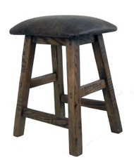 "Barnwood Bar Stool Cushion Seat in 24"" Distressed Faux Leather"
