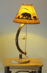 Archery Bow & Arrow Table Lamp made from Bent Hickory with Bear Shade