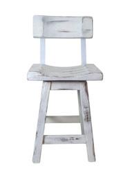 """Distressed White Barnwood Bar Stools 24"""" or 30"""" - Saddle Seat with Back"""