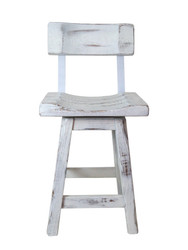 "Swivel Distressed White Barnwood Bar Stools 24"" or 30"" - Saddle Seat with Back"