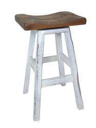 "24"" Distressed 2-Tone Barnwood Bar Stool Saddle Seat"