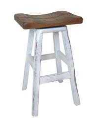 """24"""" Distressed 2-Tone Barnwood Bar Stool Saddle Seat"""